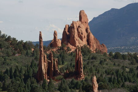 Scenic view of rock formations in the Garden of the Gods near Colorado Springs, Colorado Stock Photo