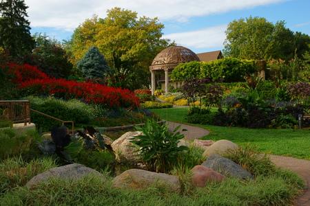 Gazebo at the Sunken Gardens, Lincoln, Nebraska Stock Photo