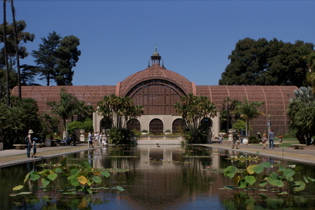 The botanical building and the lilly pond at the Balboa Gardens, San Diego
