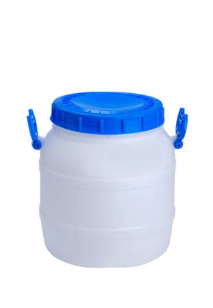 white plastic barrel with blue lid and handles isolated on white background