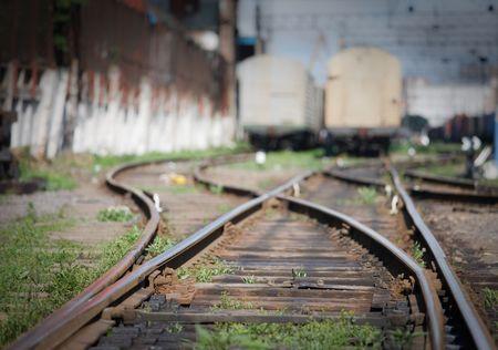 track development of the railway station in disrepai Stock Photo