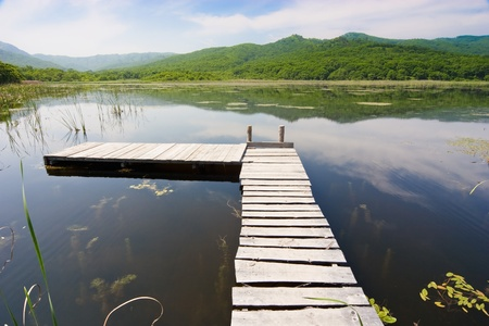 rickety: rickety wooden bridge across the lake overgrown with reeds Stock Photo