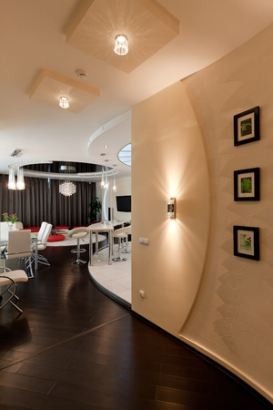 modern apartment, living room with kitchenette