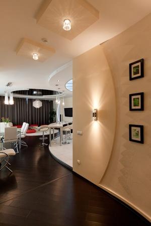 jídelna: modern apartment, living room with kitchenette