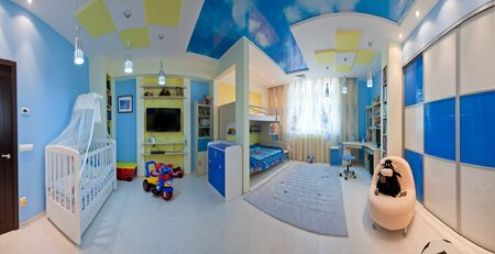 Childs room in blue photo