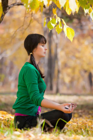 beautiful girl with dark hair, yoga in the yellow autumn leaves Stock Photo