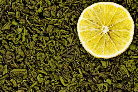 useful green tea with lemon photo
