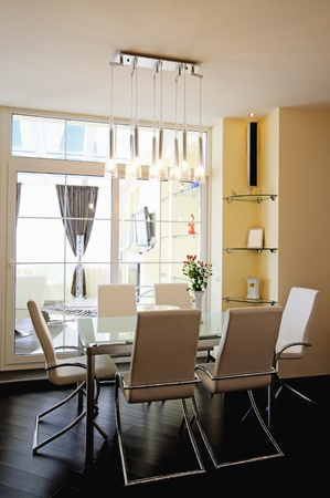 modern dining room: modern apartment, living room with kitchenette