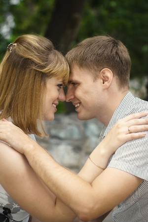 young pregnant woman and her husband walk in the park Stock Photo - 12047735