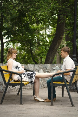 young pregnant woman and her husband walk in the park Stock Photo - 12047736