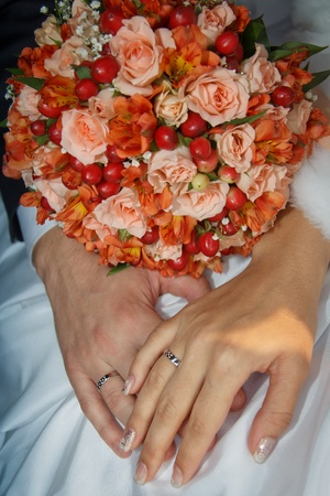 hands with wedding rings photo