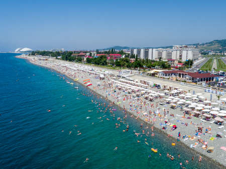 Sochi, Russia - July 2017: beach near the Olympic Park, aerial view Archivio Fotografico - 137980397