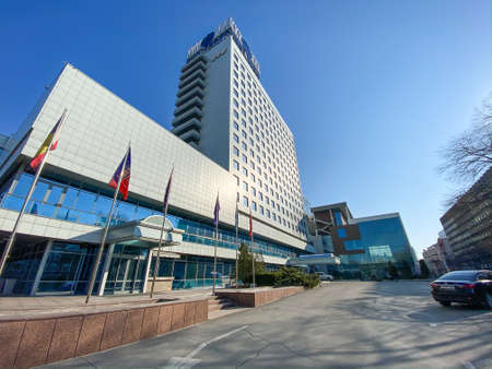 Rostov-on-Don, Russia - 2020: Congress Hotel Don-Plaza. The facade of the building, stairs and entrance, without people.