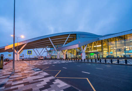 Rostov-on-Don, Russia - 2020: Platov International Airport - ROV, URRP - terminal outside in the morning at dawn. Entrance to the building, road and sidewalk. Redakční
