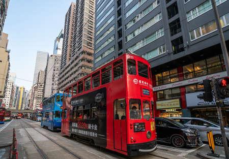 Hong Kong - 2020: double-decker trams, public transport in Hong Kong, city streets.