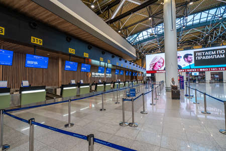 Moscow, Russia - 2020: Sheremetyevo International Airport, Terminal C, check-in counters.
