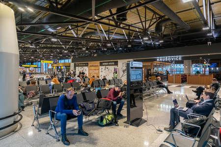Moscow, Russia - 2020: Sheremetyevo International Airport, passengers in the waiting room.