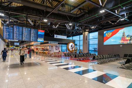 Moscow, Russia - 2020: Sheremetyevo International Airport, passengers inside the terminal.