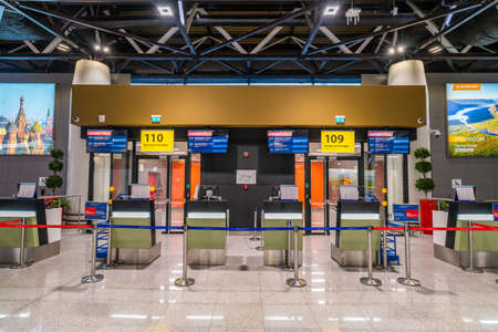 Moscow, Russia - 2020: Sheremetyevo International Airport without people, empty check-in counters.