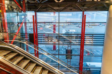 Moscow, Russia - 2020: Sheremetyevo International Airport without people, empty escalator. Editoriali
