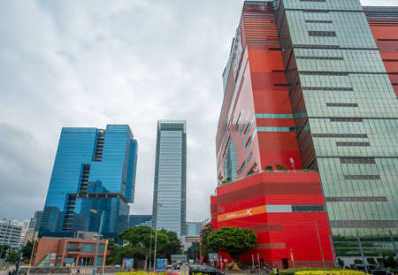 Hong Kong - 2020: office buildings - Exchange Tower and One Kowloon, MegaBox shopping center, Sheung Yee Road.