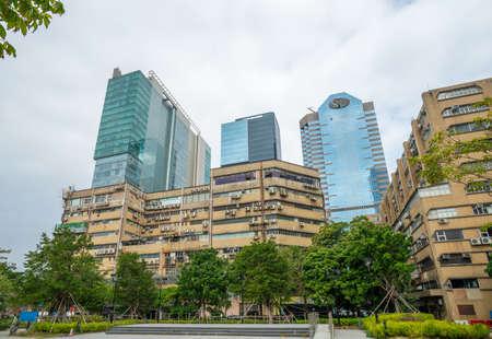 Hong Kong - 2020: Kai Fuk Industrial Centre and Po Hong Centre, Wang Tung Street, Kowloon Bay. Skyscrapers - Billion Centre, YHC Tower, Enterprises Square III.