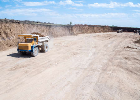 Mining truck, special equipment for working in quarries, aerial view