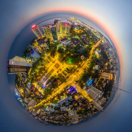 Sochi, Russia - 2016: little planet Sochi, park PKiO, Sochi Art Museum, Hyatt Regency hotel, Marins Park Hotel, Aleksandriyskiy Mayak, Mercure Hotel, TV tower from above.