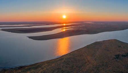 Manych-Gudilo lake at sunset from above, beautiful landscape Archivio Fotografico