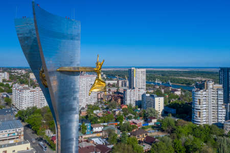 Rostov-on-Don, Russia - 2020: Theatre square, Stela and Goddess Nika, aerial view.