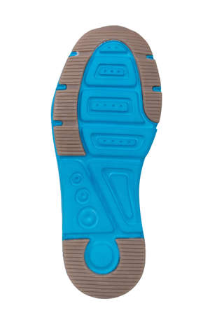 Sole of sport tracking shoes snickers individual design close up isolated one stylish bright blue and grey pattern