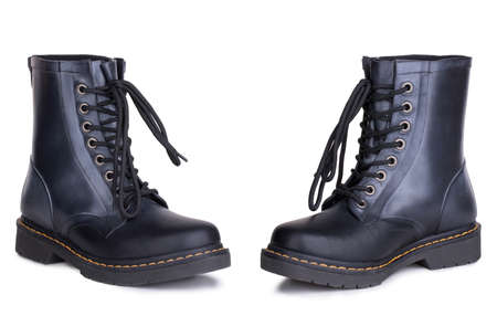 A pair of new comfortable daily shiny laced polished black leather