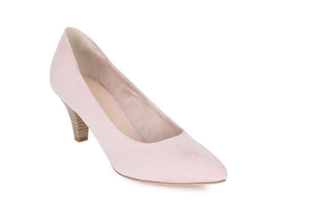 One classical woman daily nude beige suede shoe. One isolated. Archivio Fotografico - 129678780