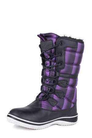 One black and purple urban street comfortable daily stylish glossy fabric woolen laced woman winter boot isolated