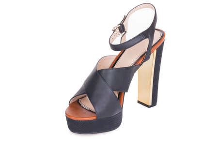 One classical black daily laced glamour leather woman stylish high heels gladiator ankle sandals shoes, isolated.