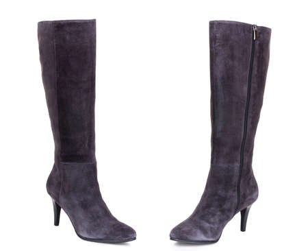 Classic grey brown suede leather high knee ankle heels warm winter comfort female woman women boots. Two isolated