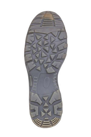 Sole of sport tracking shoes snickers individual design close up isolated one grey pattern