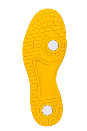 Sole of sport tracking shoes snickers individual design close up isolated one stylish bright yellow pattern