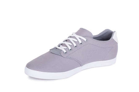 One grey fiber fabric laced breathing orthopedic casual sneakers shoe isolated on white background Stockfoto