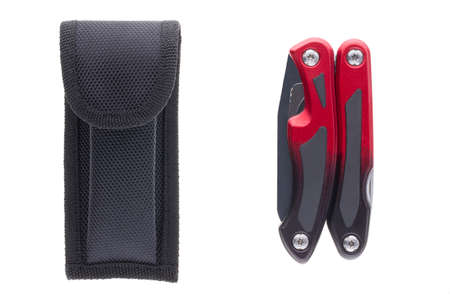 High quality black carbon and red multi-functional folded tool with case