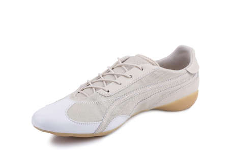 One white laced breathing orthopedic leather casual sneakers shoe isolated on white background