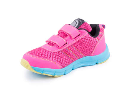 One colorful pink blue sole bright leather fiber, fabric toddler laced orthopedic footwear snickers shoe boot isolated
