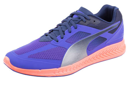 One stylish designer colorful blue, silver, pink laced breathing orthopedic fiber and fabric casual sneakers shoe isolated