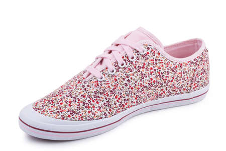 One pink floral pattern fiber fabric laced breathing orthopedic casual sneakers shoe isolated on white background