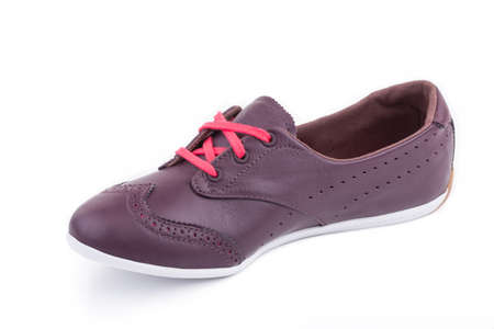 One ruby vinous red classical laced breathing orthopedic leather casual sneakers boots shoe isolated on white background