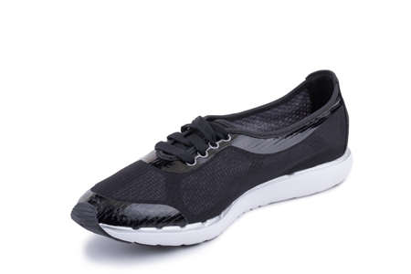 One black fiber fabric laced breathing orthopedic casual sneakers shoe isolated on white background