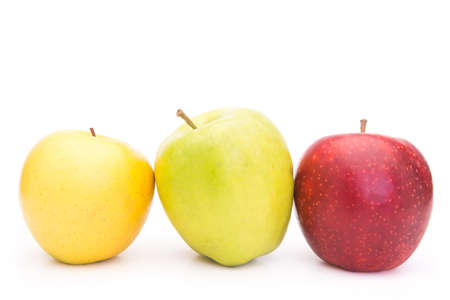 Fresh Green, Yellow and Red Apples with Dewdrops Isolated on White Background Stock Photo