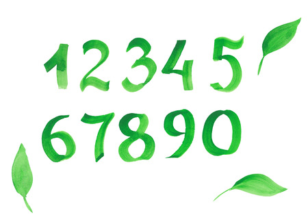 numbers background: Green watercolor numbers isolated on white background