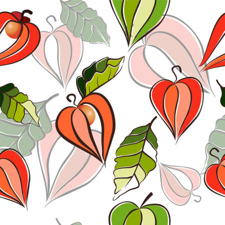 Vector seamless background with physalis, berries and leaves isolated on white background. Winter cherry, cape gooseberry. Floral pattern, Flat design