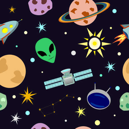 vector space seamless pattern in cartoon style with aliens, rocket, stars, planets, space station, sun and star constellation Illusztráció